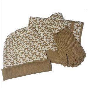 MK 3pc Set Scarf, hat, & gloves. NIB